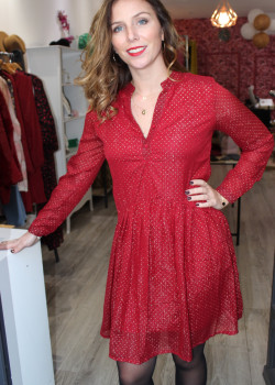 ROBE BORDEAUX A STRASS