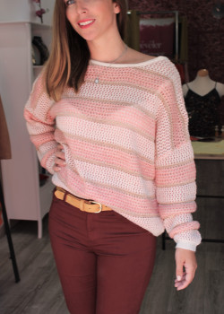 PULL A RAYURES MAILLE ET LUREX